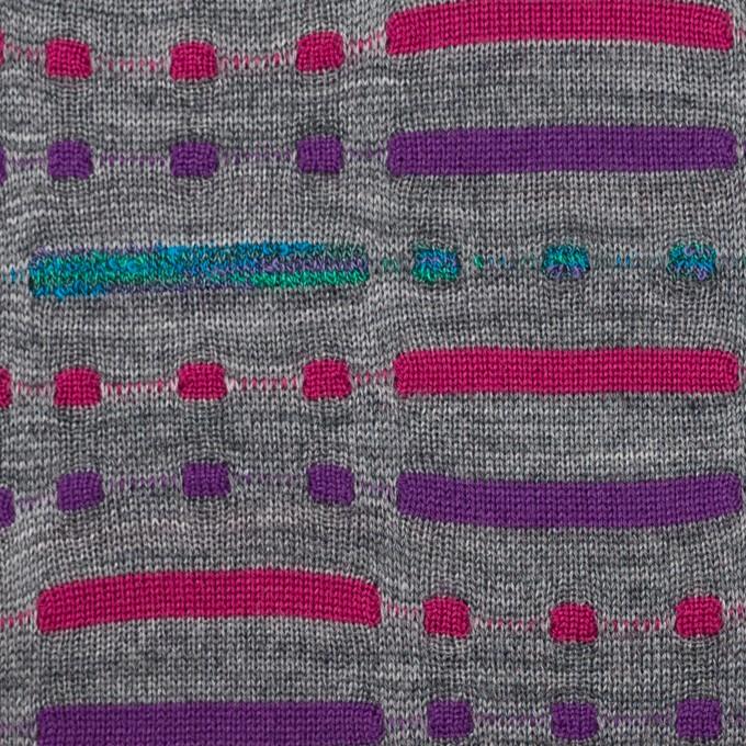 ウール&ナイロン混×幾何学模様(グレー)×天竺ジャガードニット_全3色 イメージ1