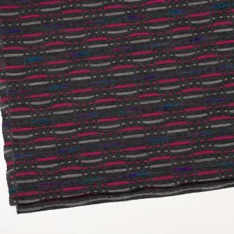 ウール&ナイロン混×幾何学模様(チャコールグレー)×天竺ジャガードニット_全3色 サムネイル2