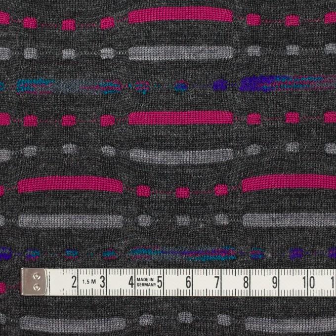 ウール&ナイロン混×幾何学模様(チャコールグレー)×天竺ジャガードニット_全3色 イメージ4