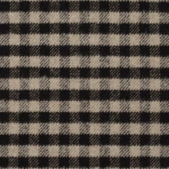 ポリエステル&レーヨン混×チェック(キナリ&ダークブラウン)×サージストレッチ サムネイル1