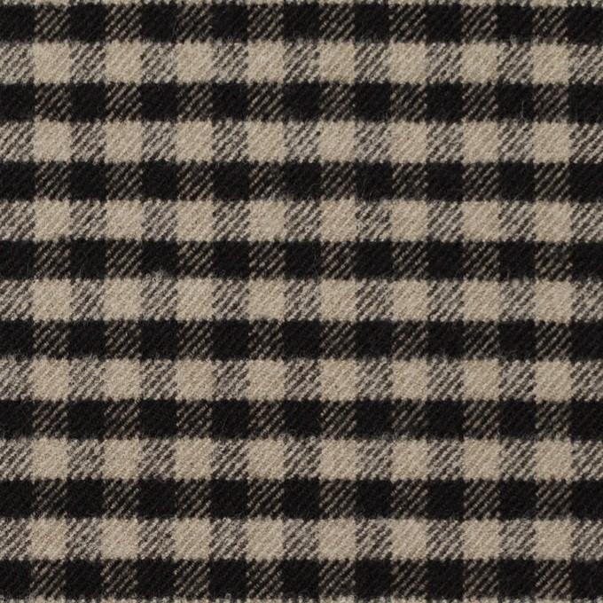 ポリエステル&レーヨン混×チェック(キナリ&ダークブラウン)×サージストレッチ イメージ1