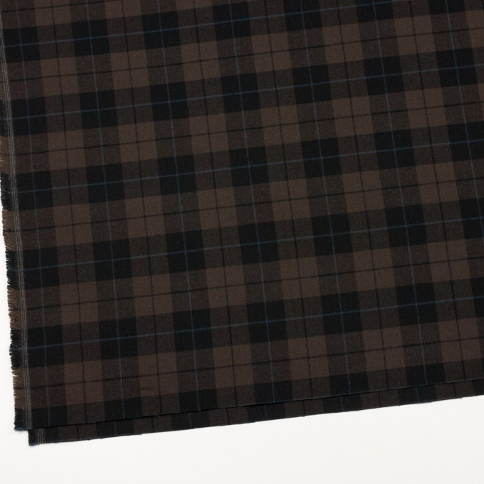 ポリエステル&レーヨン混×チェック(ダークブラウン)×サージストレッチ イメージ2