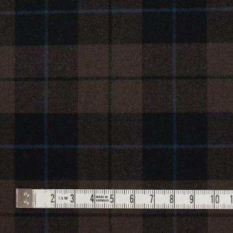 ポリエステル&レーヨン混×チェック(ダークブラウン)×サージストレッチ サムネイル4