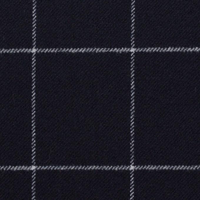 ポリエステル&レーヨン混×チェック(ダークネイビー)×サージストレッチ イメージ1