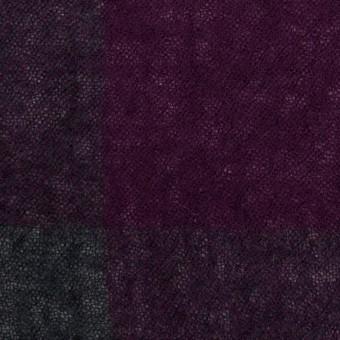 ウール×チェック(パープル&チャコールグレー)×ガーゼ