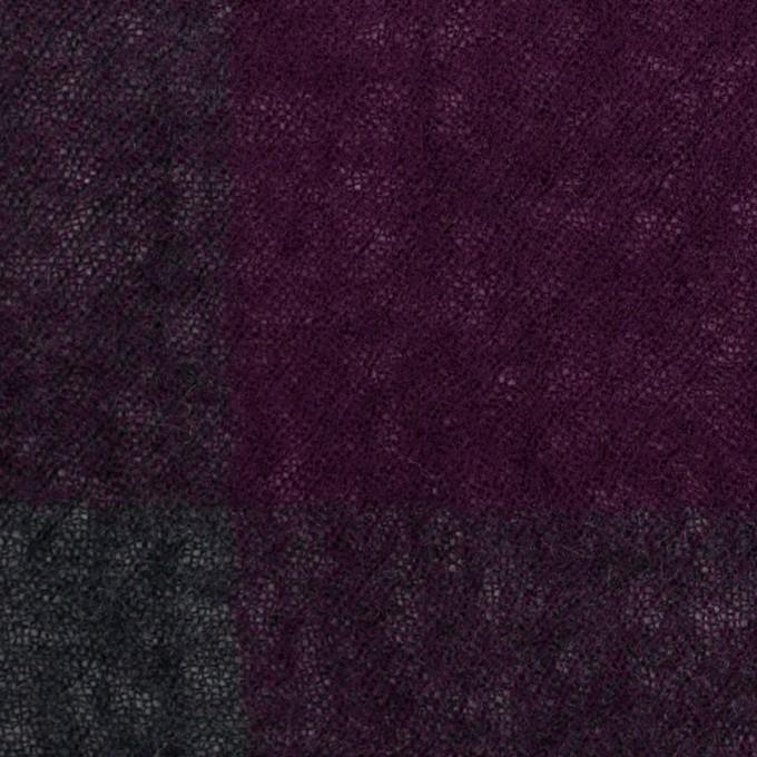ウール×チェック(パープル&チャコールグレー)×ガーゼ イメージ1