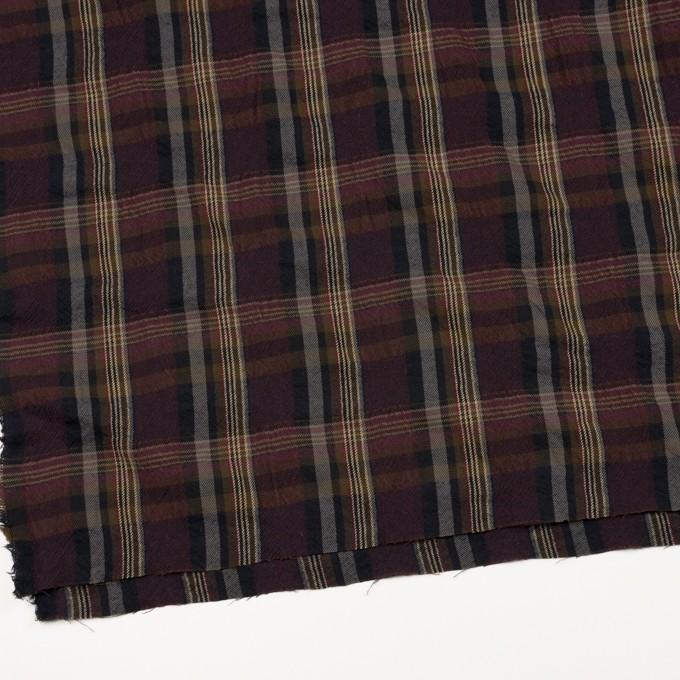 ウール&コットン×チェック(ボルドー&ブラウン)×ビエラワッシャー_イタリア製 イメージ2