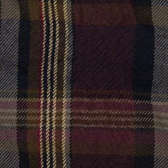ウール&コットン×チェック(ボルドー&ブラウン)×ビエラワッシャー_イタリア製
