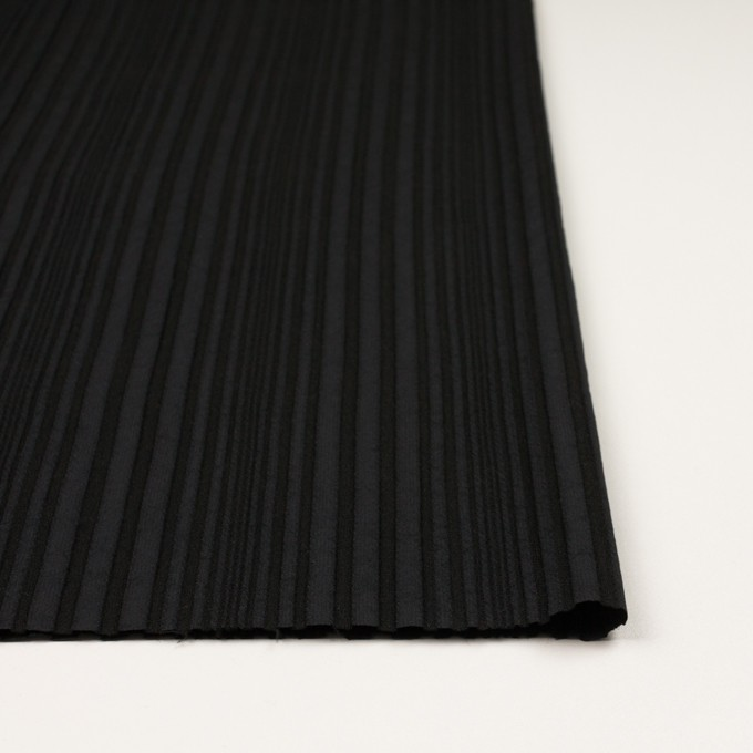 アセテート&ウール混×無地(ブラック)×タテタック イメージ3
