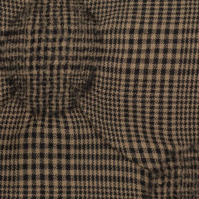 ウール×チェック(モカブラウン)×ポプリン・カットジャガード イメージ1