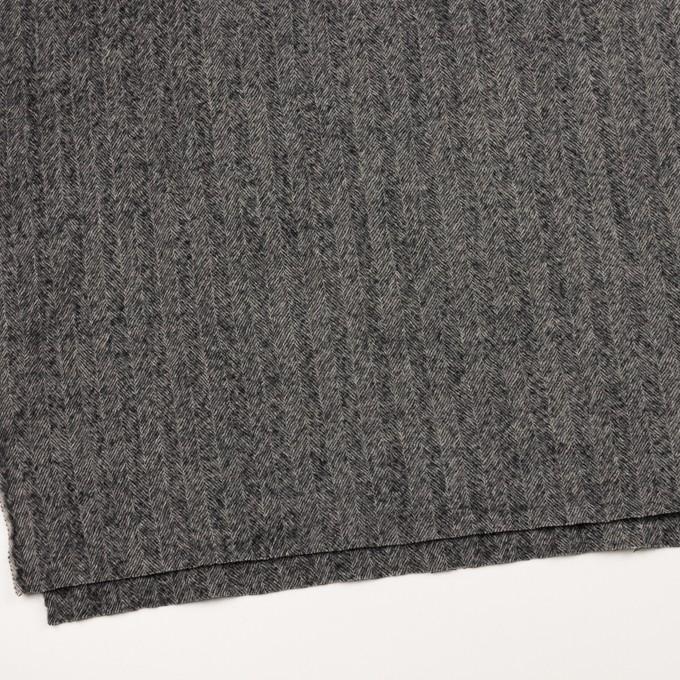 ウール×無地(チャコールグレー)×ヘリンボーン・ガーゼ イメージ2