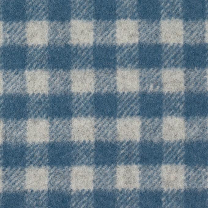 ウール&ナイロン×チェック(ライトグレー&ブルーグレー)×かわり織 イメージ1