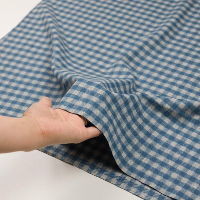 ウール&ナイロン×チェック(ライトグレー&ブルーグレー)×かわり織 イメージ5