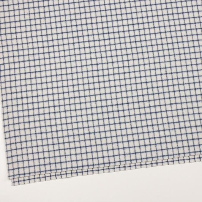 ウール&アクリル混×チェック(アイボリー&ブルー)×かわり織 イメージ2