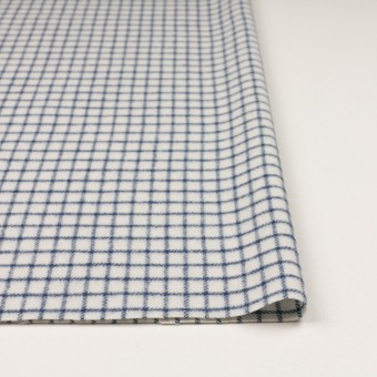 ウール&アクリル混×チェック(アイボリー&ブルー)×かわり織 サムネイル3