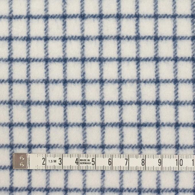 ウール&アクリル混×チェック(アイボリー&ブルー)×かわり織 イメージ4