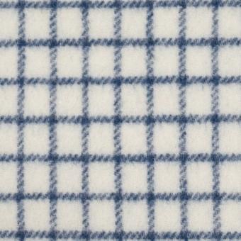 ウール&アクリル混×チェック(アイボリー&ブルー)×かわり織