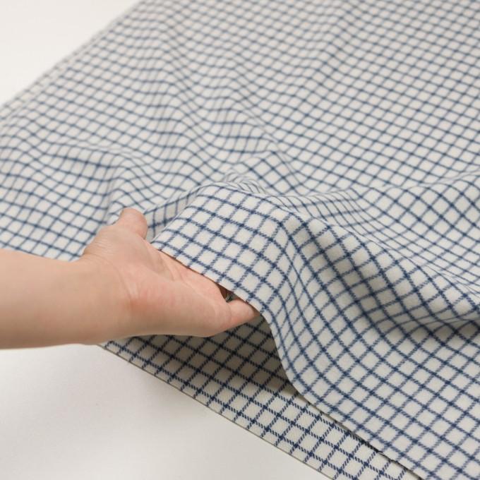 ウール&アクリル混×チェック(アイボリー&ブルー)×かわり織 イメージ5