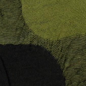 ウール&アクリル混×サークル(モスグリーン)×ジャガードニット_全3色