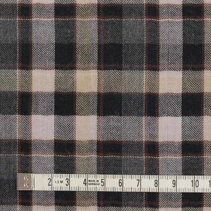 コットン&ポリエステル混×チェック(チャコールグレー&ブラック)×ヘリンボーン イメージ4
