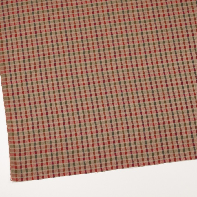 ウール&シルク×チェック(レッド、オレンジ&ティーグリーン)×サージ_全2色 イメージ2