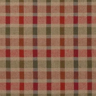 ウール&シルク×チェック(レッド、オレンジ&ティーグリーン)×サージ_全2色