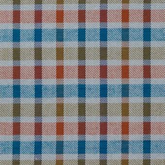 ウール&シルク×チェック(オレンジ、ターコイズ&ティーグリーン)×サージ_全2色