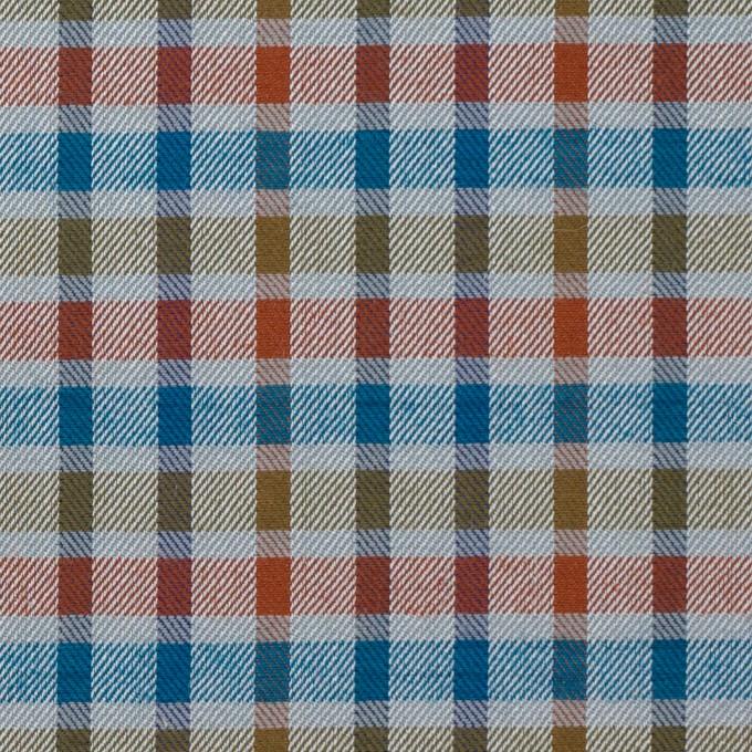 ウール&シルク×チェック(オレンジ、ターコイズ&ティーグリーン)×サージ_全2色 イメージ1
