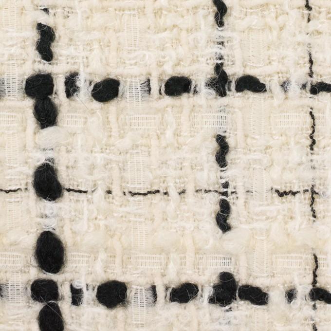 ウール&ビスコース混×チェック(アイボリー&ブラック)×ファンシーツイード_イタリア製 イメージ1