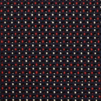 コットン&ビスコース×ミックス(ダークネイビー、アイボリー&レッド)×斜子織_イタリア製