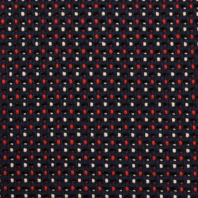 コットン&ビスコース×ミックス(ダークネイビー、アイボリー&レッド)×斜子織_イタリア製 イメージ1