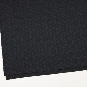 ポリエステル&ポリウレタン混×幾何学模様(ブラック、モスグリーン&ダークネイビー)×サテンジャガード_イタリア製 サムネイル2