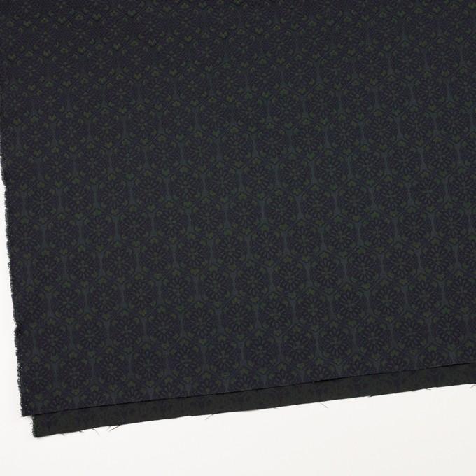 ポリエステル&ポリウレタン混×幾何学模様(ブラック、モスグリーン&ダークネイビー)×サテンジャガード_イタリア製 イメージ2