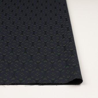 ポリエステル&ポリウレタン混×幾何学模様(ブラック、モスグリーン&ダークネイビー)×サテンジャガード_イタリア製 サムネイル3