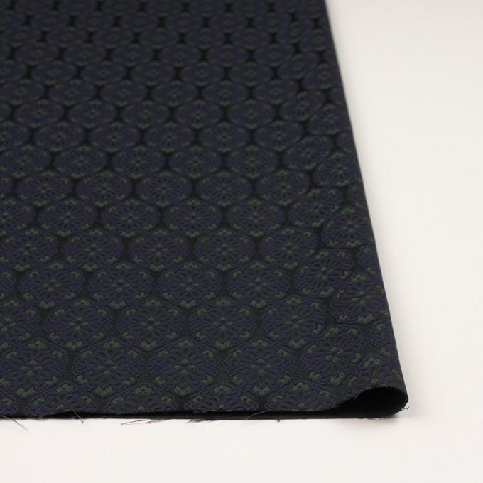 ポリエステル&ポリウレタン混×幾何学模様(ブラック、モスグリーン&ダークネイビー)×サテンジャガード_イタリア製 イメージ3