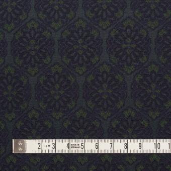 ポリエステル&ポリウレタン混×幾何学模様(ブラック、モスグリーン&ダークネイビー)×サテンジャガード_イタリア製 サムネイル4