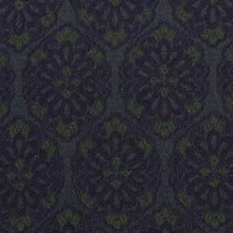 ポリエステル&ポリウレタン混×幾何学模様(ブラック、モスグリーン&ダークネイビー)×サテンジャガード_イタリア製