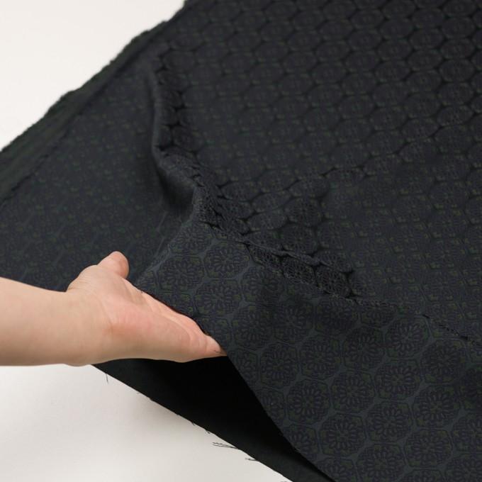 ポリエステル&ポリウレタン混×幾何学模様(ブラック、モスグリーン&ダークネイビー)×サテンジャガード_イタリア製 イメージ5