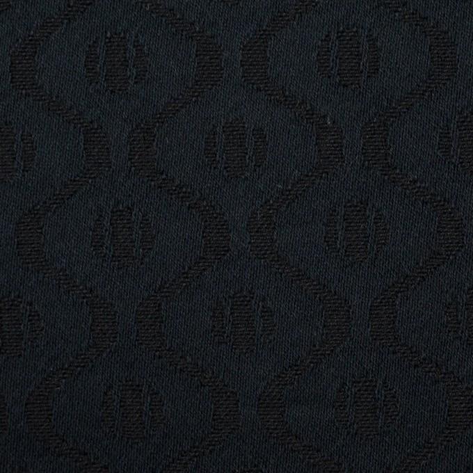 コットン&レーヨン×幾何学模様(ダークネイビー)×サテンジャガード イメージ1