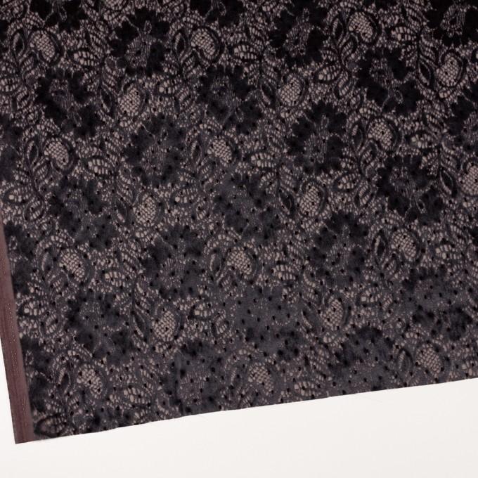 レーヨン&ポリエステル×フラワー(ダークパープル)×オパールベルベット イメージ2