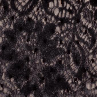 レーヨン&ポリエステル×フラワー(ダークパープル)×オパールベルベット