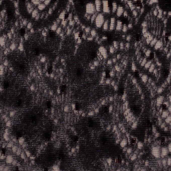 レーヨン&ポリエステル×フラワー(ダークパープル)×オパールベルベット イメージ1