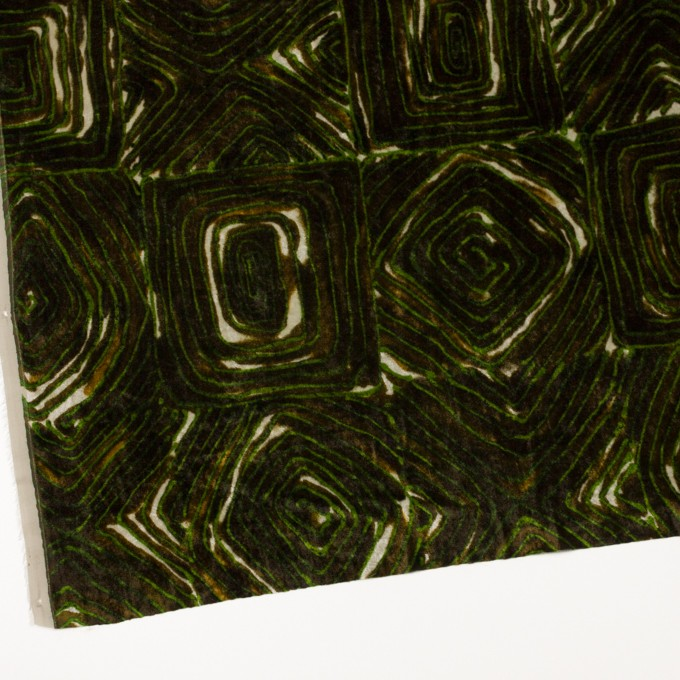 レーヨン×幾何学模様(ブラウン&グリーン)×ベルベット_イタリア製 イメージ2