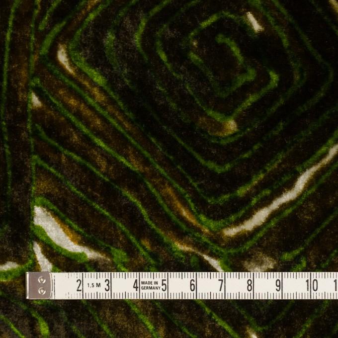 レーヨン×幾何学模様(ブラウン&グリーン)×ベルベット_イタリア製 イメージ4
