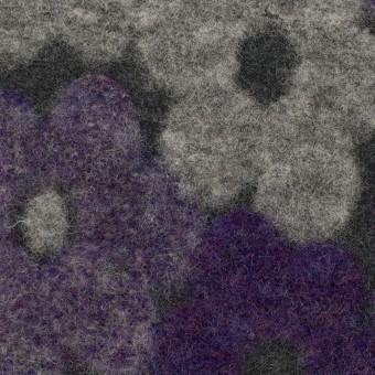 ウール&レーヨン×フラワー(パープル&グレー)×ジャガードニット