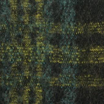 コットン&ウール×チェック(ブラック、ミント&レモン)×ジャガードニット_全2色