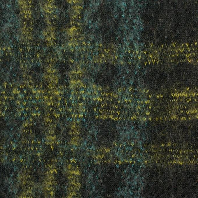 コットン&ウール×チェック(ブラック、ミント&レモン)×ジャガードニット_全2色 イメージ1