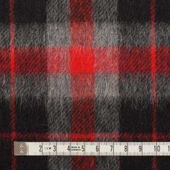 ウール&アルパカ混×チェック(レッド、グレー&ブラック)×かわり織_全2色 サムネイル4