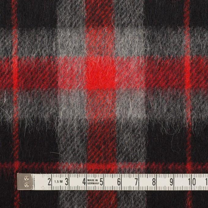 ウール&アルパカ混×チェック(レッド、グレー&ブラック)×かわり織_全2色 イメージ4