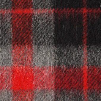 ウール&アルパカ混×チェック(レッド、グレー&ブラック)×かわり織_全2色